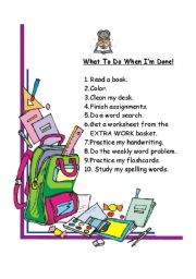 English Worksheets: what to do when I�m done!
