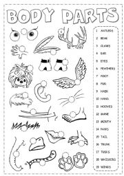 English Worksheet: Body Parts Picrionary