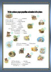 English worksheet: Cats and prepositions