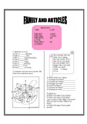 English worksheet: Article and family