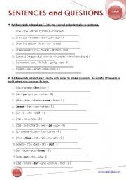 English Worksheets: sentences and questions