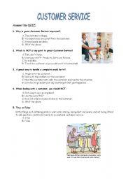 English worksheet: Customer Service Quiz
