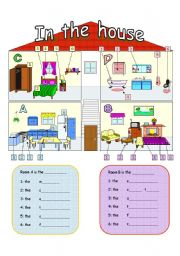 English Worksheet: In The House: Rooms And Furniture