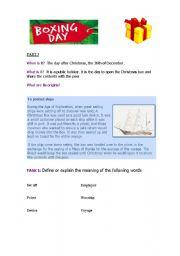 English Worksheet: boxing day part I