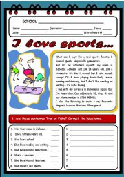 English Worksheet: I LOVE SPORTS (2 PAGES)