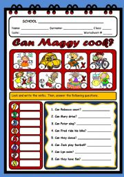 English Worksheet: CAN MAGGY COOK?