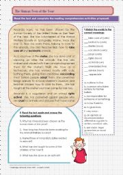 English Worksheets: READING_The Human Teen of the Year_present perfect