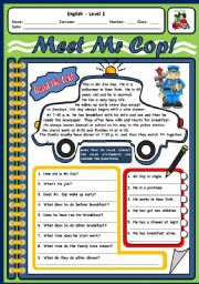 English Worksheet: MEET MR COP (2 PAGES)