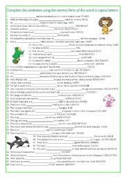 English Worksheet: Word formation - exercise (3)