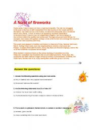 English Worksheets: a feast of fireworks