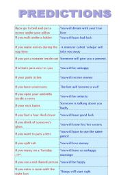 English Worksheet: First Conditional -Common Predictions