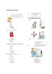 English Worksheet: Multiple choice worksheet about describing people, hobbies, food and daily routines