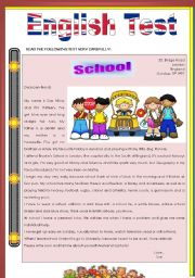 English Worksheets: Test about school