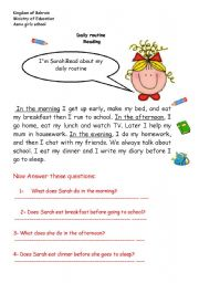 English Worksheets: daily routine reading