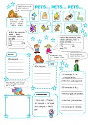 English Worksheet: PETS (have/has got) colour version