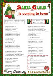 English Worksheets: Christmas Set  (10)  -  It�s time to sing along:  Bruce Springsteen�s