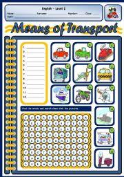 English Worksheet: MEANS OF TRANSPORT