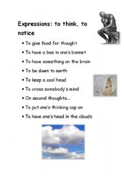 English Worksheets: Expressions: to think, to notice