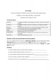 English Worksheet: Weather Warnings in Fall/Winter: Words and Phrases that Signal Danger
