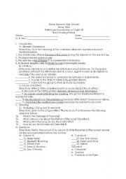 English Worksheets: preliminary examination english III