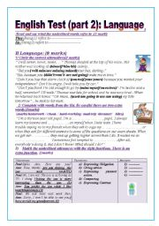 English Worksheet: English test (part2): (9thform end of term 1)Language: Grammar+ Vocabulary