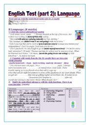 English Worksheet: English test (part2): (9thform end of term 1)Language: Grammar+ Vocabulary