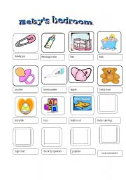 English worksheet: Baby´s bedroom Pictionary