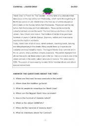 English teaching worksheets: Mardi Gras
