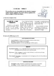 English Worksheets: Writing a 100 word opinion text