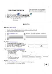 English Worksheet: Surfing the web - introduction to online dictionaries