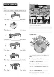 English Worksheets: PREPOSITIONS - under, on, in, behind, in front of, next to