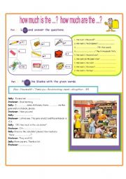 English worksheet: How much is the ...?   How much are the ..?