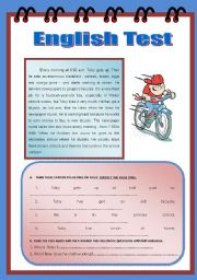 English Worksheets: Toby�s Daily Routine