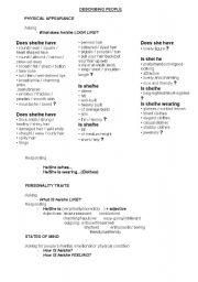 English Worksheet: Describing people & things