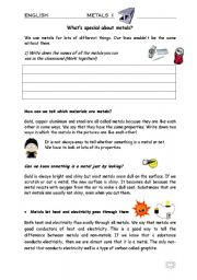 English Worksheets: METALS - What�s special about? - Properties