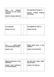 English Worksheets: Trivia questions: English