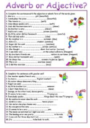 Worksheets Adjective And Adverb Worksheets english exercises adjectives or adverbs adverb adjective level elementary age 14 17 downloads 618