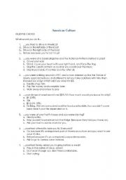 English worksheet: American Culture Quiz