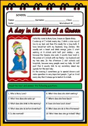 English Worksheets: A DAY IN THE LIFE OF A QUEEN