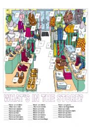 English Worksheets: The Clothing Store Match