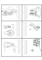 English Worksheet: Read and Write, Order the sequence, Jesus Birth Story, minibook