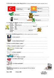 English Worksheet: 2009/2010, 1st term,2nd exam or worksheet for 4th grade (part two)