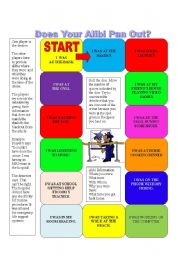 English Worksheet: Game what is your alibi? Practicing Past Proressive