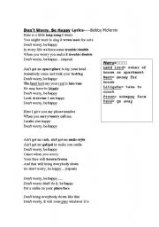 English Worksheets: Don´t Worry, Be Happy Lyrics
