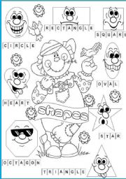 English Worksheets: shapes pictionary