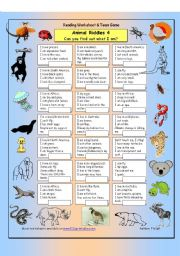 English Worksheet: Animal Riddles 4 (Quite difficult)