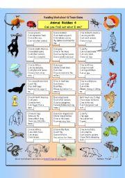 english worksheets animal riddles 4 quite difficult. Black Bedroom Furniture Sets. Home Design Ideas