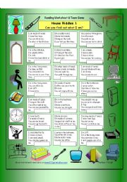English Worksheets: House Riddles (Easy)