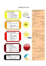 English Worksheets: moments of the day