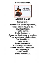 English Worksheet Halloween Chants Amp Poems